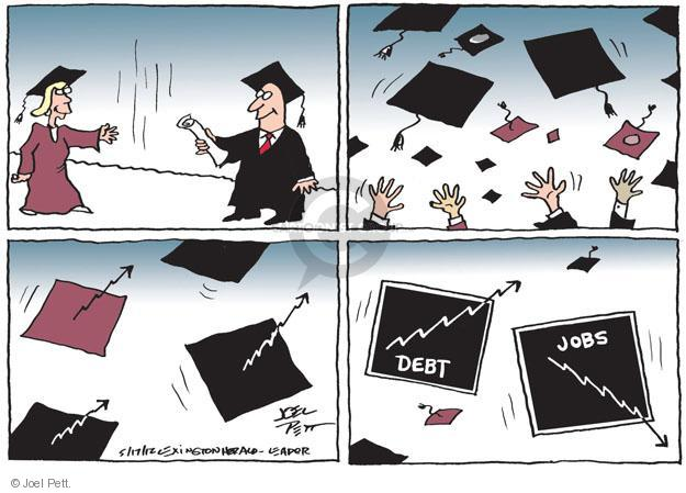 Debt (arrow up). Jobs (arrow down).