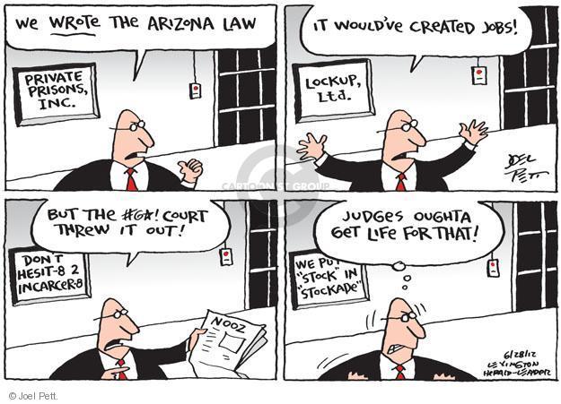 Joel Pett  Joel Pett's Editorial Cartoons 2012-06-28 Arizona immigration