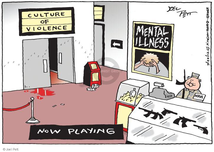 Culture of Violence. Mental Illness. NRA. Now Playing.