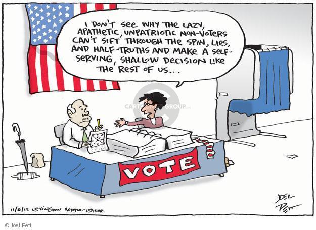 Joel Pett  Joel Pett's Editorial Cartoons 2012-11-06 apathy