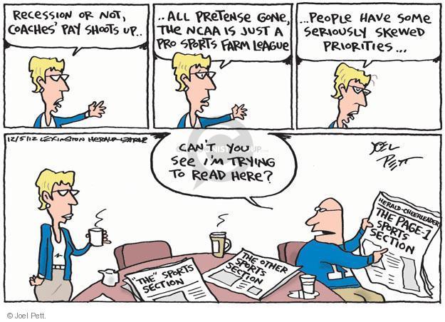 Cartoonist Joel Pett  Joel Pett's Editorial Cartoons 2012-12-05 recession