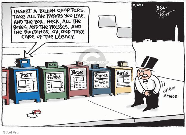 Cartoonist Joel Pett  Joel Pett's Editorial Cartoons 2013-08-08 media