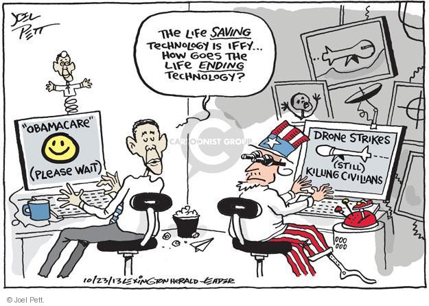 Cartoonist Joel Pett  Joel Pett's Editorial Cartoons 2013-10-23 drone