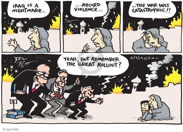 Cartoonist Joel Pett  Joel Pett's Editorial Cartoons 2013-11-03 Iraq war