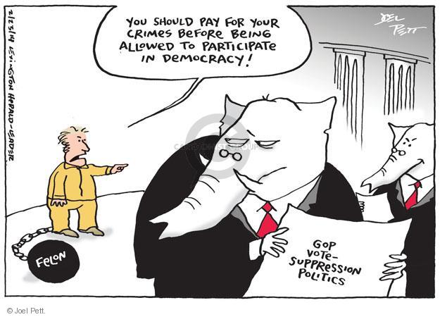 You should pay for your crimes before being allowed to participate in democracy. Felon. GOP Vote-Suppression Politics.