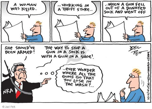 Cartoonist Joel Pett  Joel Pett's Editorial Cartoons 2014-03-12 gun control