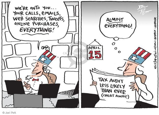 Cartoonist Joel Pett  Joel Pett's Editorial Cartoons 2014-04-15 tax return