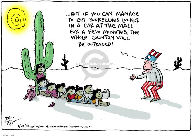 Cartoonist Joel Pett  Joel Pett's Editorial Cartoons 2014-07-22 migrant