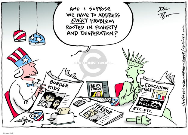 Cartoonist Joel Pett  Joel Pett's Editorial Cartoons 2014-07-29 border security