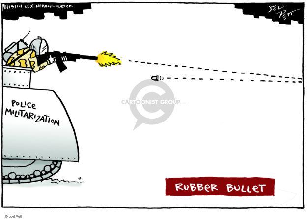 Cartoonist Joel Pett  Joel Pett's Editorial Cartoons 2014-08-19 police militarization