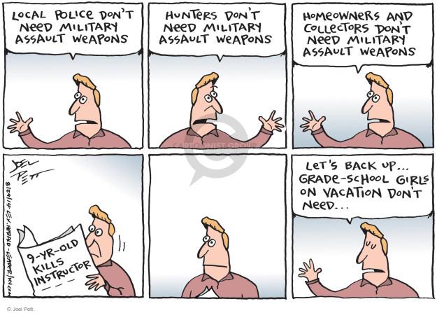 Cartoonist Joel Pett  Joel Pett's Editorial Cartoons 2014-08-29 assault weapon