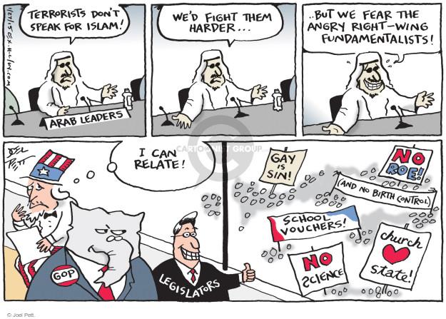Cartoonist Joel Pett  Joel Pett's Editorial Cartoons 2015-01-27 politics and fear