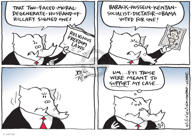 Cartoonist Joel Pett  Joel Pett's Editorial Cartoons 2015-04-01 duplicity