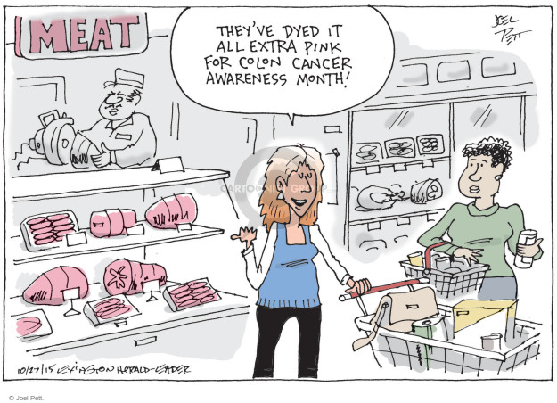 MEAT.  Theyve dyed it all extra pink for Colon Cancer Awareness month!