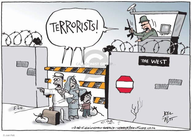 Cartoonist Joel Pett  Joel Pett's Editorial Cartoons 2015-11-18 terror