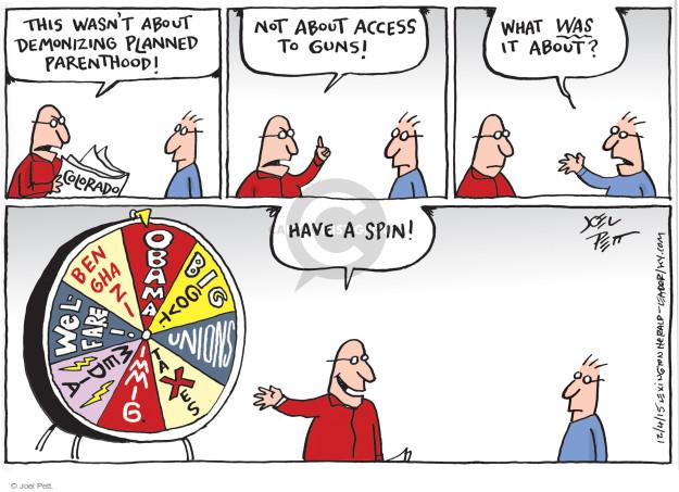 Cartoonist Joel Pett  Joel Pett's Editorial Cartoons 2015-12-04 gun media