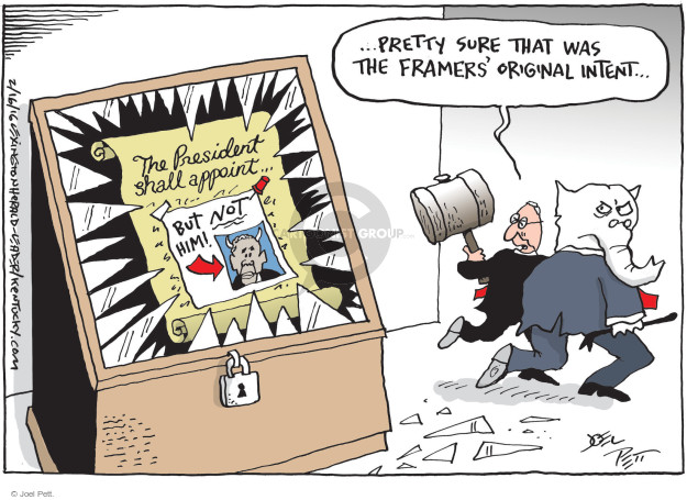 Cartoonist Joel Pett  Joel Pett's Editorial Cartoons 2016-02-16 Republican opposition
