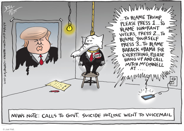 Cartoonist Joel Pett  Joel Pett's Editorial Cartoons 2016-02-19 Republican opposition