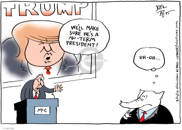 Cartoonist Joel Pett  Joel Pett's Editorial Cartoons 2016-03-01 Trump opposition