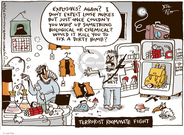 Cartoonist Joel Pett  Joel Pett's Editorial Cartoons 2016-04-03 terror attack