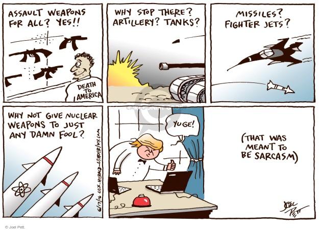 Cartoonist Joel Pett  Joel Pett's Editorial Cartoons 2016-06-17 assault weapon