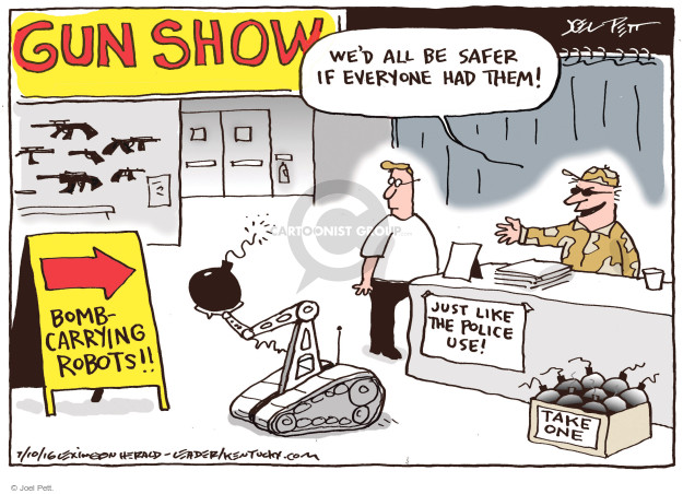 Cartoonist Joel Pett  Joel Pett's Editorial Cartoons 2016-07-10 gun rights