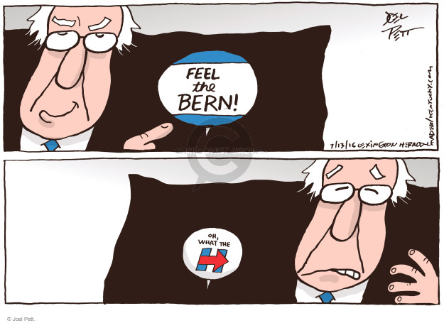 Joel Pett  Joel Pett's Editorial Cartoons 2016-07-13 Hillary Clinton and Bernie Sanders
