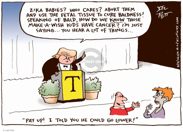 Cartoonist Joel Pett  Joel Pett's Editorial Cartoons 2016-08-03 Zika virus