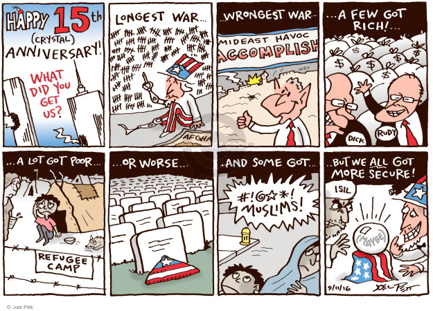Cartoonist Joel Pett  Joel Pett's Editorial Cartoons 2016-09-11 terror attack