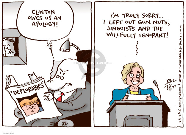Joel Pett  Joel Pett's Editorial Cartoons 2016-09-13 owe