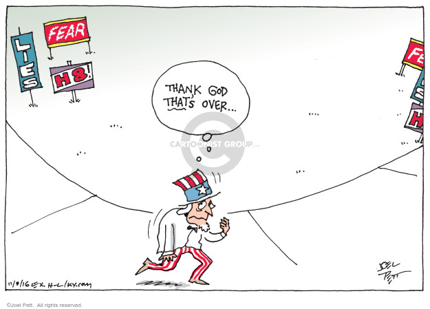 Cartoonist Joel Pett  Joel Pett's Editorial Cartoons 2016-11-09 God