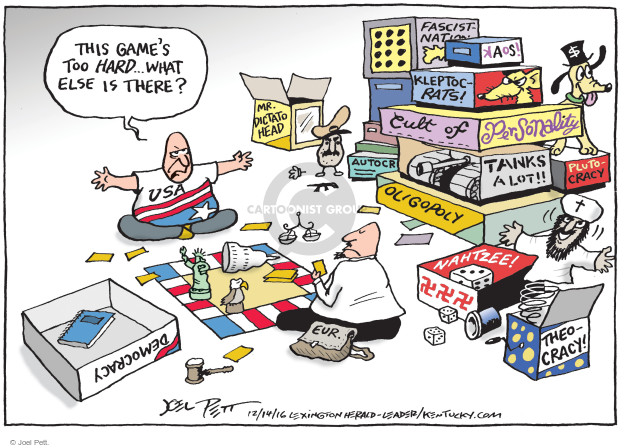 This games too hard … what else is there? USA. Mr. Dictato Head. Fascist-Nation. Kaos! Kleptocrats! Cult of Personality. Tanks a lot!! Plutocracy. Oligopoly. Nahtzee! Theocracy. Democracy. Eur.