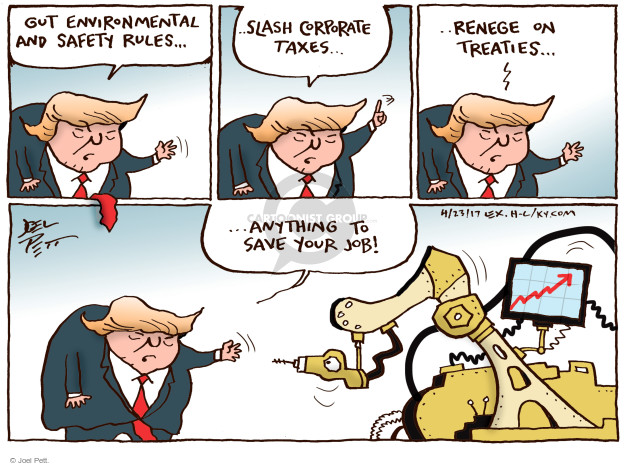 Cartoonist Joel Pett  Joel Pett's Editorial Cartoons 2017-04-23 Donald Trump taxes