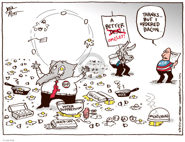 Cartoonist Joel Pett  Joel Pett's Editorial Cartoons 2017-07-27 republican democrat