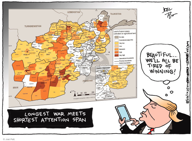 Cartoonist Joel Pett  Joel Pett's Editorial Cartoons 2017-08-23 Afghanistan