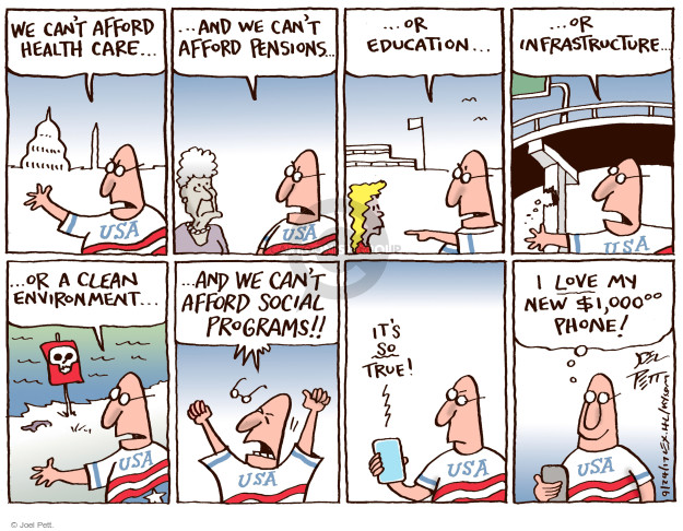 Cartoonist Joel Pett  Joel Pett's Editorial Cartoons 2017-09-24 Government Spending