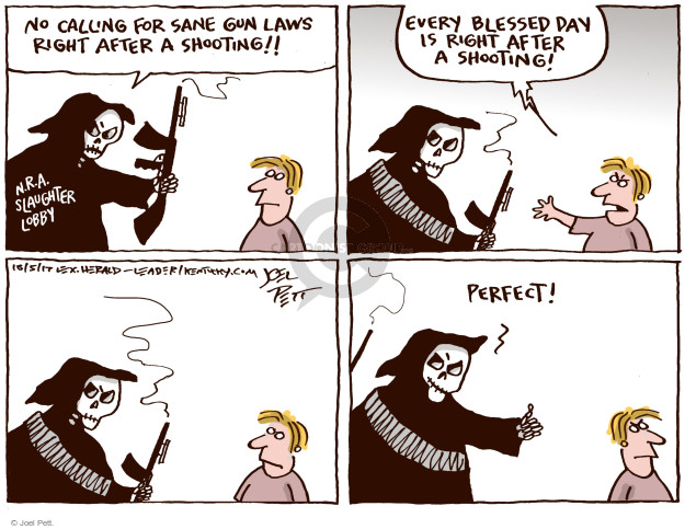 Cartoonist Joel Pett  Joel Pett's Editorial Cartoons 2017-10-05 NRA