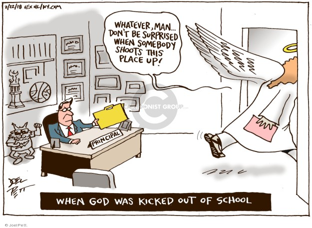 Cartoonist Joel Pett  Joel Pett's Editorial Cartoons 2018-02-22 God