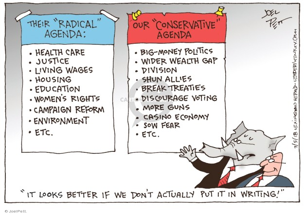Cartoonist Joel Pett  Joel Pett's Editorial Cartoons 2018-07-05 partisan politics