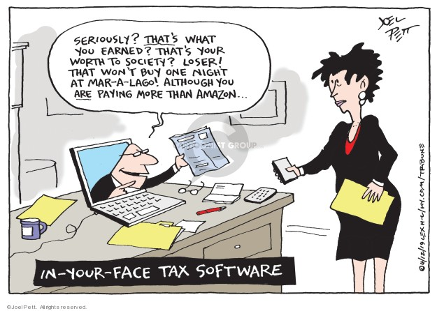Cartoonist Joel Pett  Joel Pett's Editorial Cartoons 2019-04-12 face