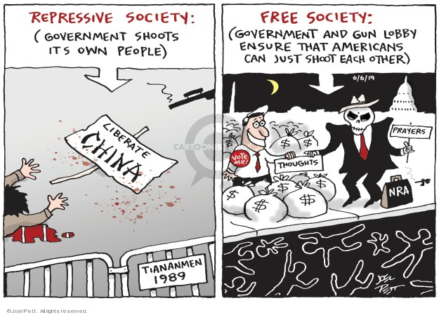 Cartoonist Joel Pett  Joel Pett's Editorial Cartoons 2019-06-06 firearm