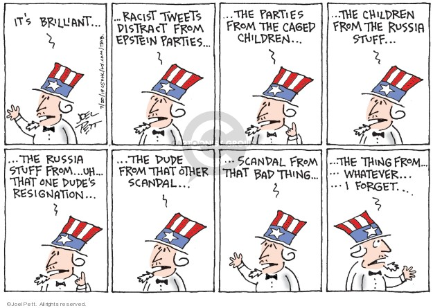 Joel Pett  Joel Pett's Editorial Cartoons 2019-07-20 media distraction