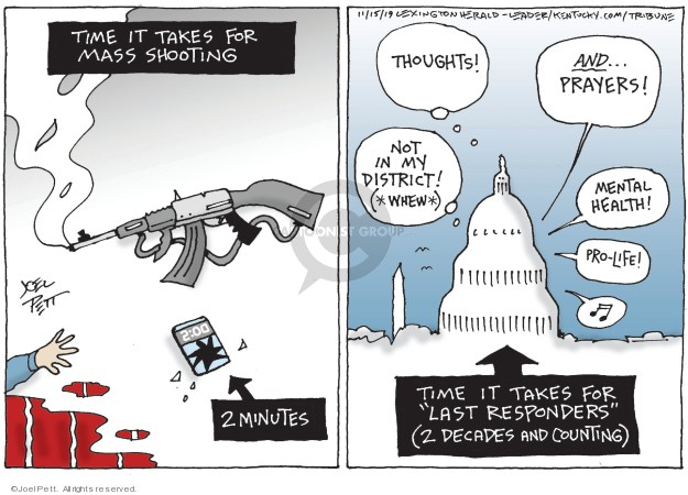 Cartoonist Joel Pett  Joel Pett's Editorial Cartoons 2019-11-15 gun control