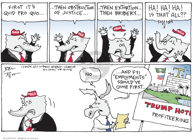 Cartoonist Joel Pett  Joel Pett's Editorial Cartoons 2019-11-24 Trump opposition