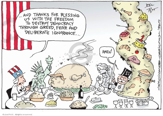 Cartoonist Joel Pett  Joel Pett's Editorial Cartoons 2019-11-28 gathering