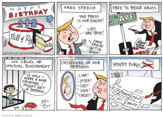 Cartoonist Joel Pett  Joel Pett's Editorial Cartoons 2019-12-15 president