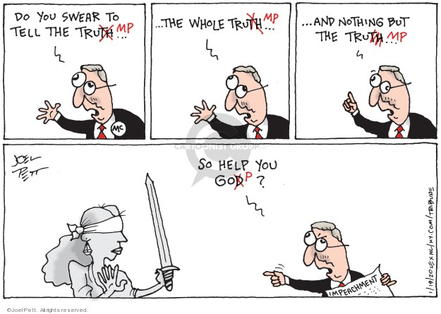Cartoonist Joel Pett  Joel Pett's Editorial Cartoons 2020-01-19 partisan politics