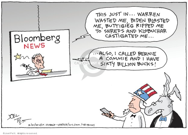 Cartoonist Joel Pett  Joel Pett's Editorial Cartoons 2020-02-21 2020 election