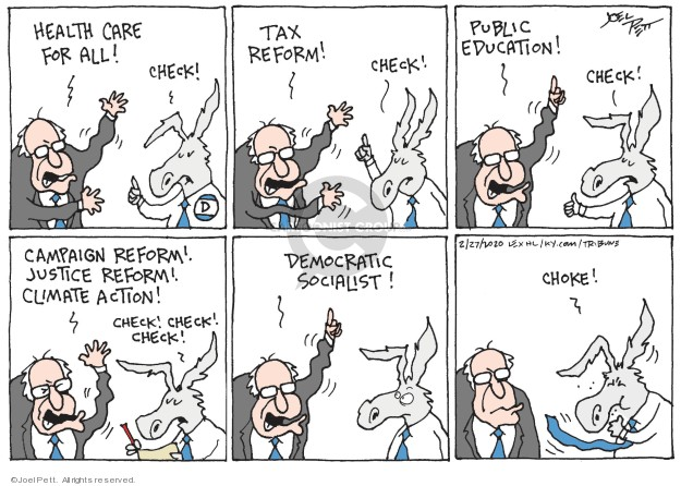 Cartoonist Joel Pett  Joel Pett's Editorial Cartoons 2020-02-27 democratic candidate