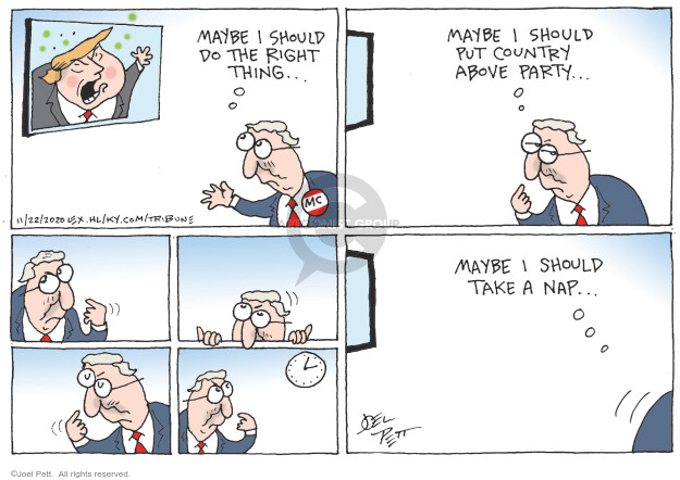 Joel Pett  Joel Pett's Editorial Cartoons 2020-11-22 presidential leadership